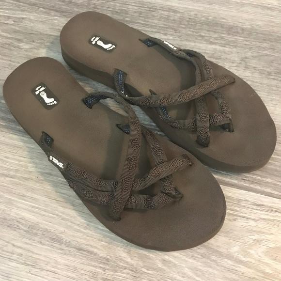 bf42e167ac1463 Womens Teva Mush Brown Stappy Sandals